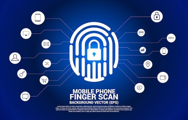 Fingerabdruck-symbol vom punkt verbinden linienpolygon mit schlossmitte mit funktionssymbol.