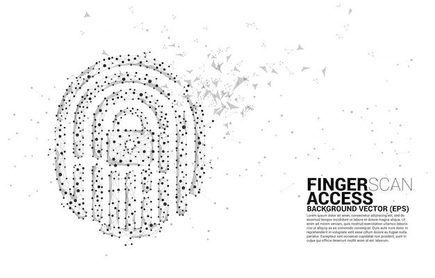Fingerabdruck-symbol von punkt verbinden linienpolygon.