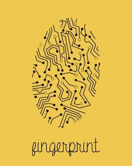 Fingerabdruckentwurf über gelbem hintergrund