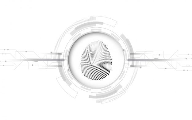 Fingerabdruckscan des digitalen konzeptes der sicherheit cyber abstrakter technologiehintergrund schützen systeminnovation