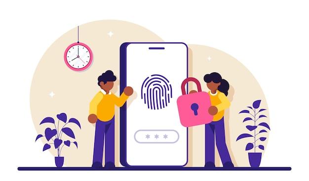 Fingerauthentifizierung. sicherheitssystem zur überprüfung von fingerabdrücken, betrugserkennung, biometrische zugangskontrolle.