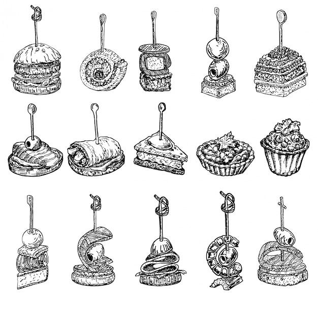 Fingerfood-skizze. tapas zeichnungen illustration. tapas und canapes skizzenset. essen vorspeise und snack skizze. häppchen, bruschetta, sandwichzeichnung für buffet, restaurant, catering-service.