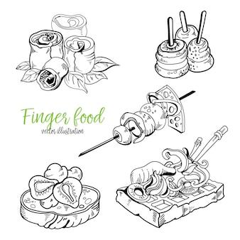Fingerfood und snack-skizzenstil gesetzt