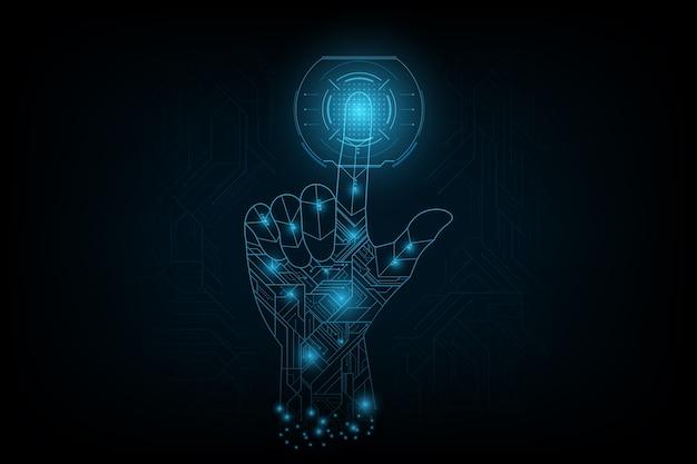 Fingernote auf der zukunft im futuristischen konzept.