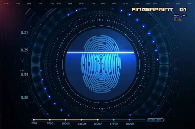 Fingerscan im futuristischen hud ui gui-stil
