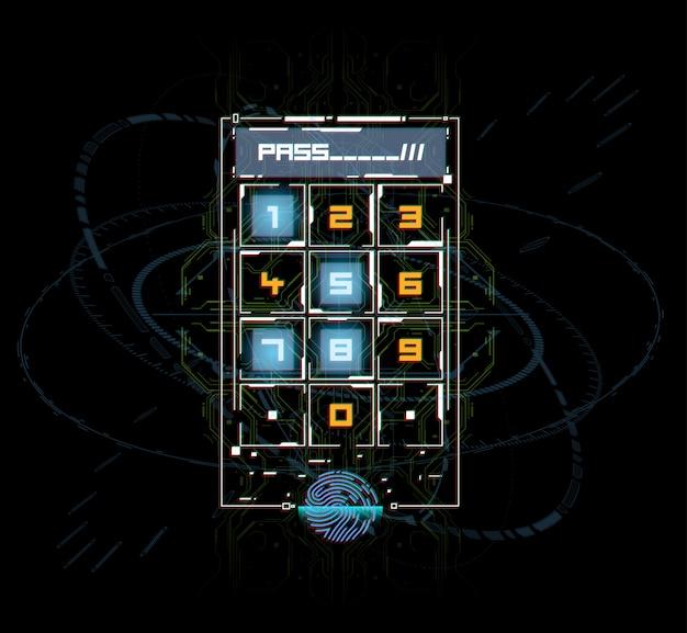Fingerscan im futuristischen stil. biometrische id mit futuristischer hud-oberfläche. fingerabdruck-scan-technologie-konzept-illustration. bedienfeld mit passwort.