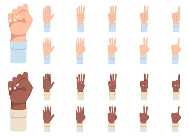 Fingerzählen. eine reihe von händen mit zählungen an den fingern von eins bis fünf abbildung.