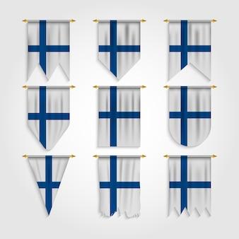 Finnland flagge in verschiedenen formen