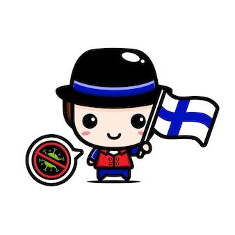Finnland junge mit flagge gegen virus