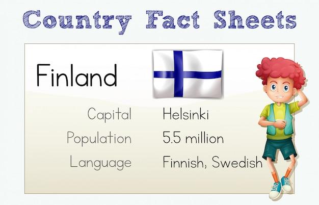 Finnland-länderinformationsblatt mit jungen und flagge