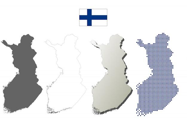 Finnland-vektorumreißkartensatz