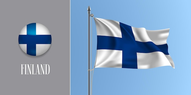 Finnland weht flagge auf fahnenmast und rundem symbol. realistische 3d des weißen blauen kreuzes beenden flagge und kreisknopf