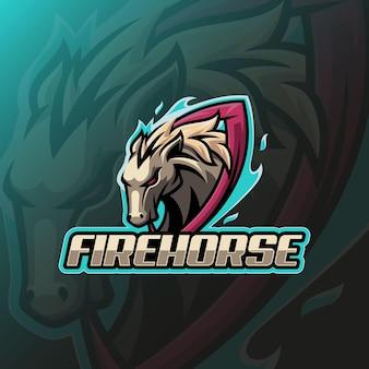 Fire horse e sport logo