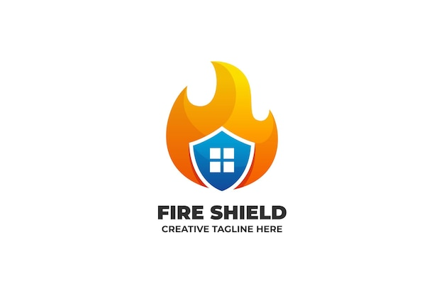 Fire shield flame burn logo mit farbverlauf