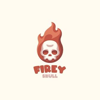 Fire skull cartoon logo für ihr unternehmen