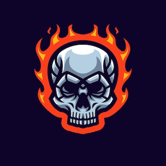 Fire skull gaming maskottchen logo für esports streamer und community