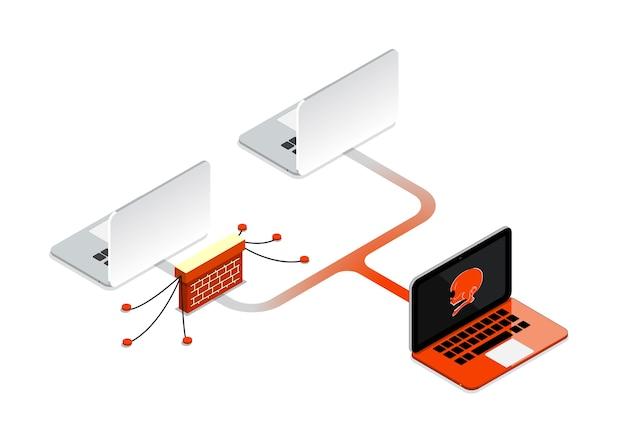 Firewall-computertechnologie. virusangreifendes netzwerk.
