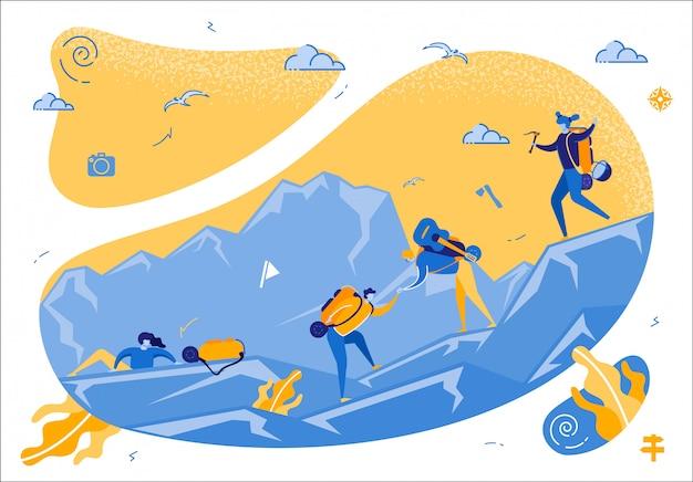 Firma der jungen touristen, die an der gebirgsspitze klettern