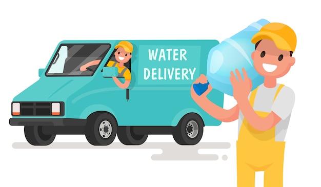 Firma für die lieferung von sauberem trinkwasser. ein mann mit einer flasche auf dem hintergrund des lieferwagens.