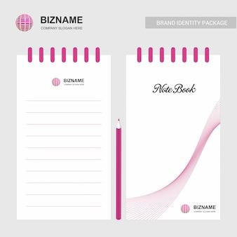 Firmen-design-notizblock mit logo-vektor