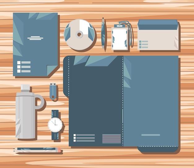 Firmen-id auf holzhintergrund