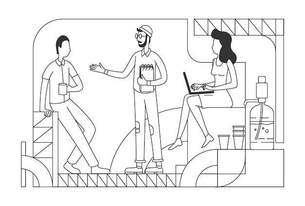 Firmenangestellte an der kaffeepause dünne linie illustration büroangestellte, die umrisszeichen auf weißem hintergrund entspannen und chatten geschäftsleute an der einfachen artzeichnung der loungezone
