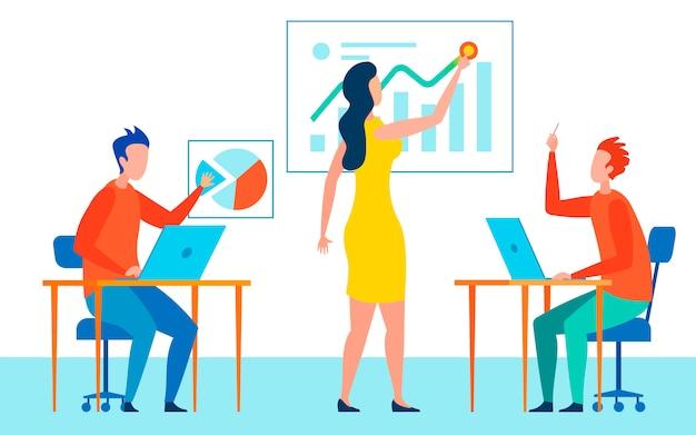 Firmenarbeitskräfte, die flache vektor-illustration treffen