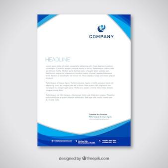 Firmenbroschüre mit blauen wellenformen