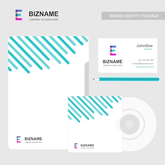 Firmenbroschürendesign mit hellem thema und e-logovektor