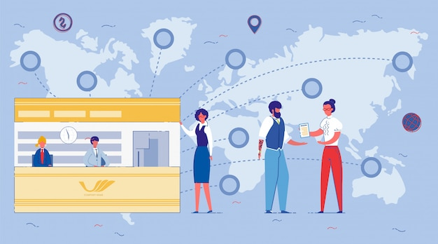 Firmeneröffnungs-franchise in verschiedenen ländern flache cartoon-illustration.