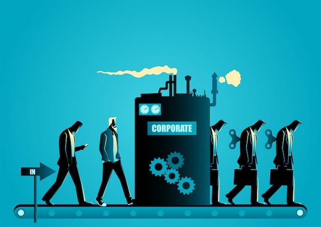 Firmenformmaschine, die männer in geschäftsroboter verwandelt
