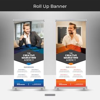 Firmengeschäft roll up oder stand banner vorlage mit abstraktem design