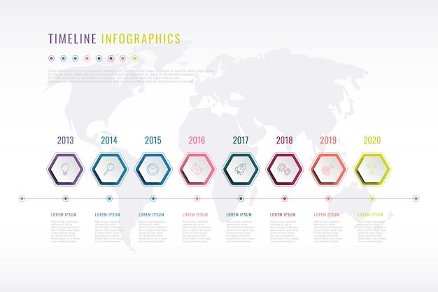 Firmengeschichte infografik mit sechseckigen elementen, jahresangabe und weltkarte