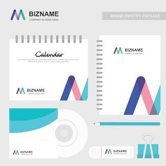 Firmenkalender mit einem einzigartigen design- und logovektor