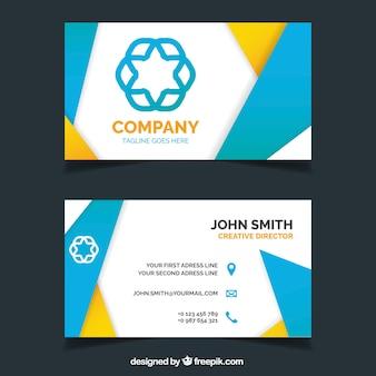 Firmenkarte mit blauen und gelben formen