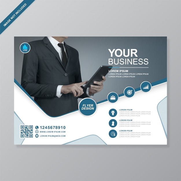 Firmenkundengeschäft-abdeckung a4 und flache ikonenfliegerdesignschablone