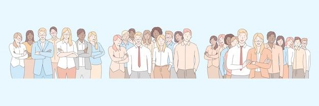 Firmenmitarbeiter, business-team-set-konzept
