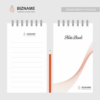 Firmennotizbuch und -tagebuch mit kreativem designvektor