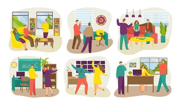 Firmenparty-banner mit dem feiern des isolierten satzes der kommunizierenden leute. geschäftsleute tanzen, feiern firmenveranstaltung im büro. fröhliche teamfeier.
