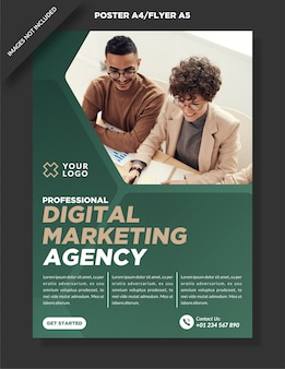 Firmenplakat a4 und flyer a5 digital marketing design