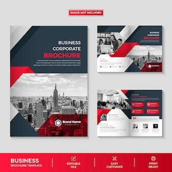 Firmenprofil 4 seiten broschürenvorlage design premium-vektor