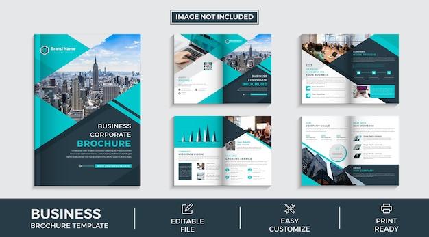 Firmenprofil 8 seiten broschüre vorlagendesign premium-vektor
