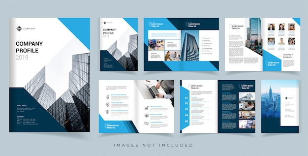 Firmenprofil broschüre vektor entwurfsvorlage. jahresbericht vektor entwurfsvorlage