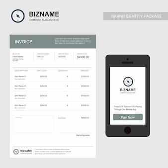 Firmenrechnungsdesign mit kreativem designvektor
