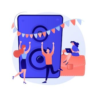 Firmenveranstaltung. party für mitarbeiter und geschäftspartner. leute tanzen, trinken und haben spaß. eventmanagement, unterhaltung, feier.