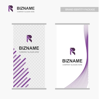 Firmenwerbungsfahne mit r-logo und sloganvektor