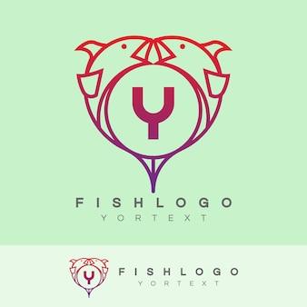 Fisch anfangsbuchstabe a logo design