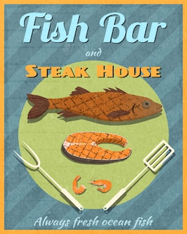 Fisch-bar retro-poster