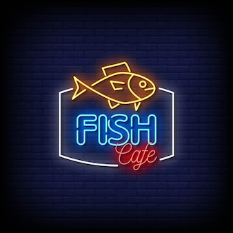 Fisch-café-neon-schilder-stil-text-vektor