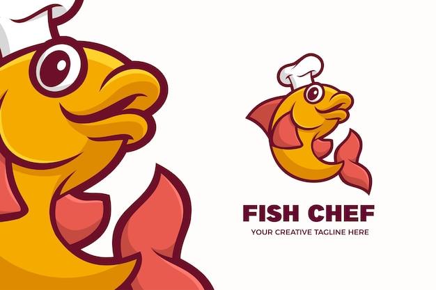 Fisch chef frische meeresfrüchte maskottchen charakter logo vorlage Premium Vektoren